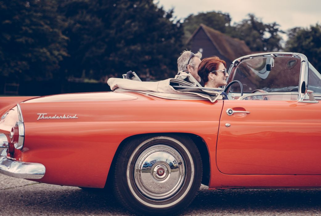 asphalt auto automobile automotive car chrome classic convertible couple driver driving ford outdoors people reflection retro rim road thunderbird transportation system wallpaper