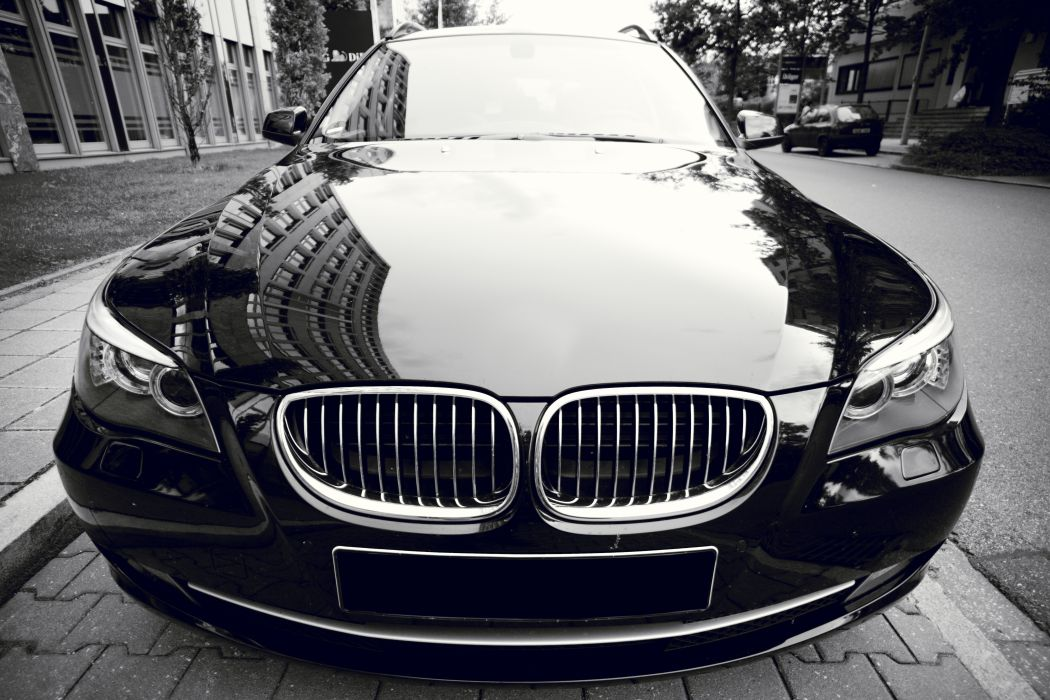 auto automobile automotive black black-and-white BMW car chrome classic coupe drive elegant fast front headlight hood luxury reflection sedan shiny street style stylish wallpaper