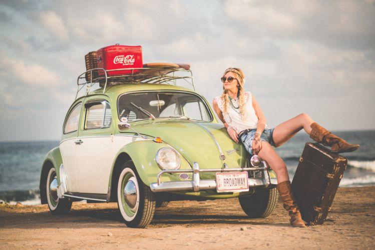 automobile automotive beach beetle car fashion model sand seashore vehicle volkswagen water woman wallpaper