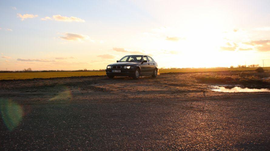 automobile BMW car contre-jour E46 lens flare sunset vehicle wallpaper
