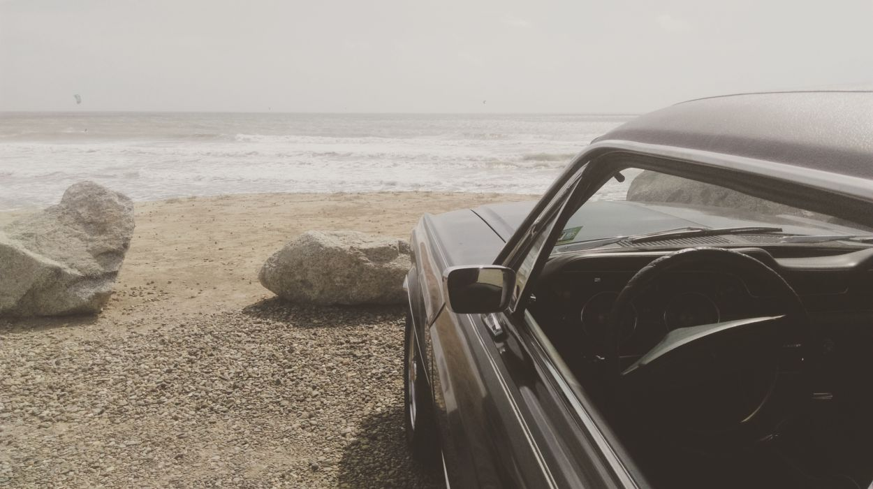 beach car mustang ocean parked sand sea seaside shore view waves wallpaper