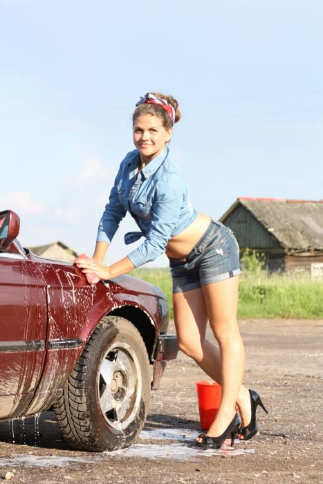 beautiful car carwash cleaning girl lady model outdoors person sky washing woman wallpaper