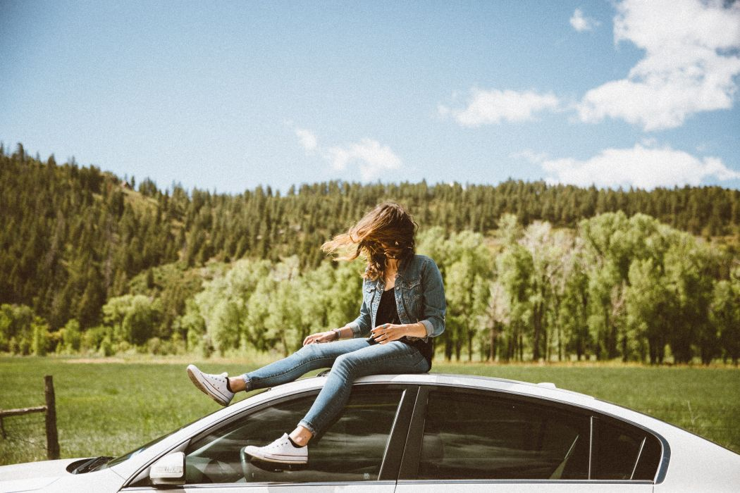 car grass nature outdoors person road roadtrip sky travel trees vehicle woman woods wallpaper