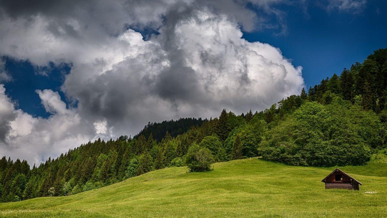 -sky-clouds-nature-landscape-splendor-mountains-cottage-rainy wallpaper