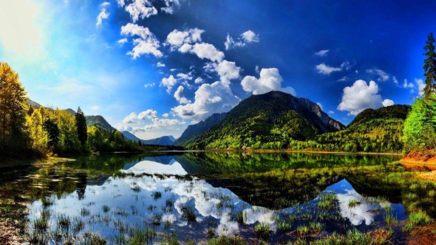 Summer sunshine scenes lake mountain wallpaper