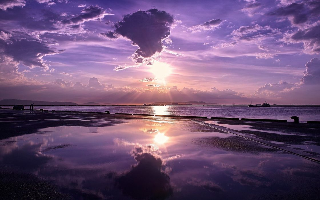 Sunset nature sea skyscapes reflections purple sky wallpaper