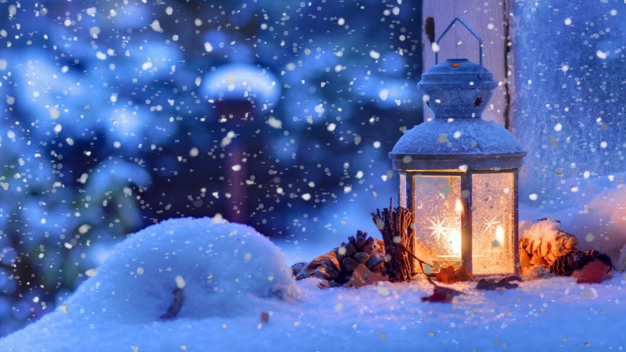 navidad nieve farolillo piy wallpaper