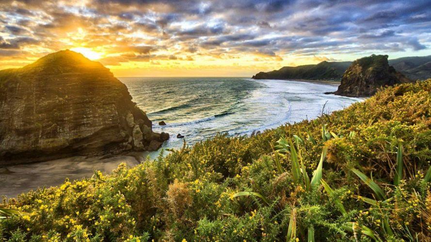 sea of sunrise cute beautiful rays beautiful grass sunset flowers water ocean view amazing waves PR wallpaper
