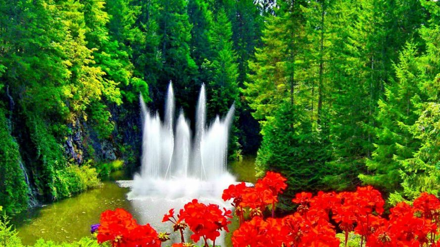 fountain cute red outdoor nice freshness nature green beautiful colors flowers water wallpaper