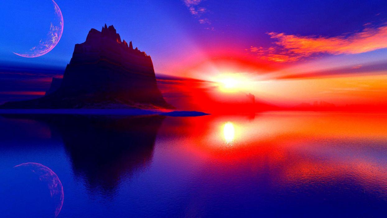 sunset-moon-scenery-magnificent-view-sea-beauty-sun-dreamy-sky-ocean-scene-red-sunlight-fantastic-photography-lake-rocks-nature-pretty-horizon-evening wallpaper
