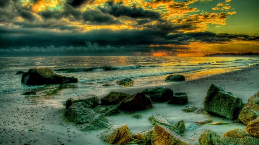 sunset-rocks-sun-romantic-sand-sky-clouds-beautiful-waves-landscape-view-cool-pretty-nice-stones-amazing-colors-beauty-great-rays-reflection-ocean wallpaper