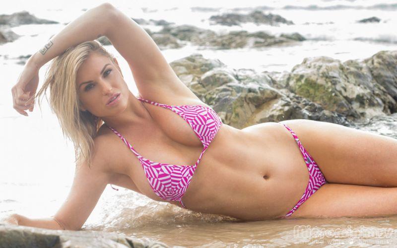blonde model sexy beach wallpaper
