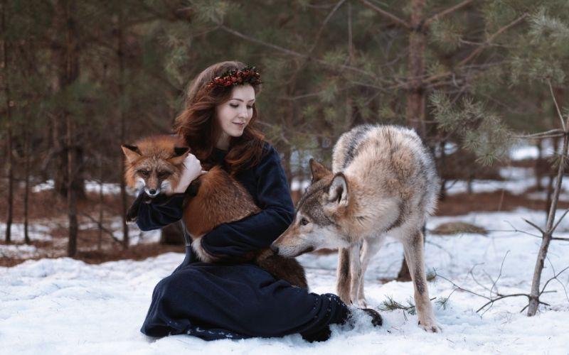 fox girl wolf wallpaper