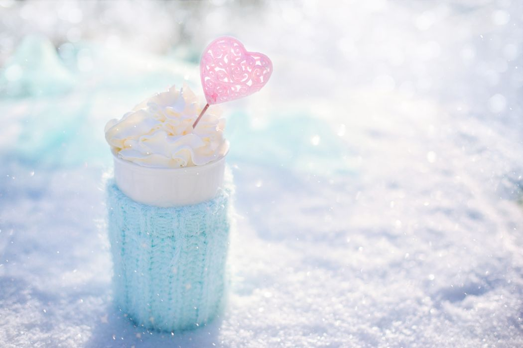 beverage bright cold color cool cream delicious dessert drink food Frappe frosty frozen glass heart ice milk outdoors snow snowy still life sweet valentine's day whipped cream white winter wallpaper