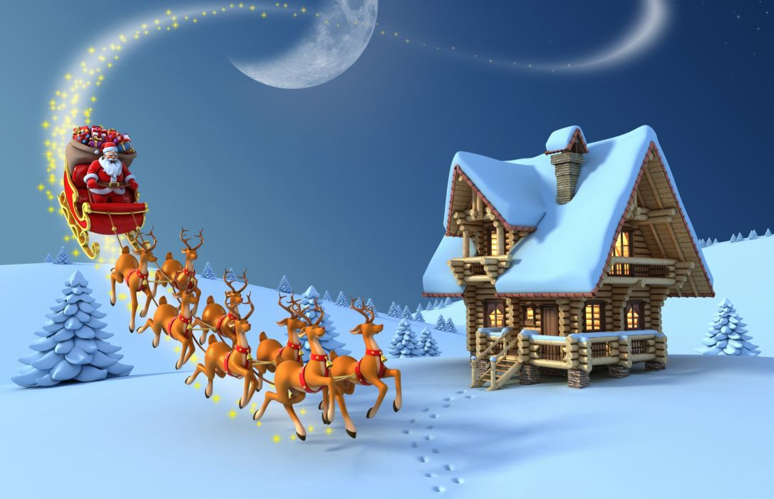 Holidays Christmas Deer Houses Snow Santa Claus Sled 3D Graphics wallpaper