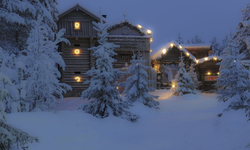Houses Finland Snow Night Trees Cities wallpaper