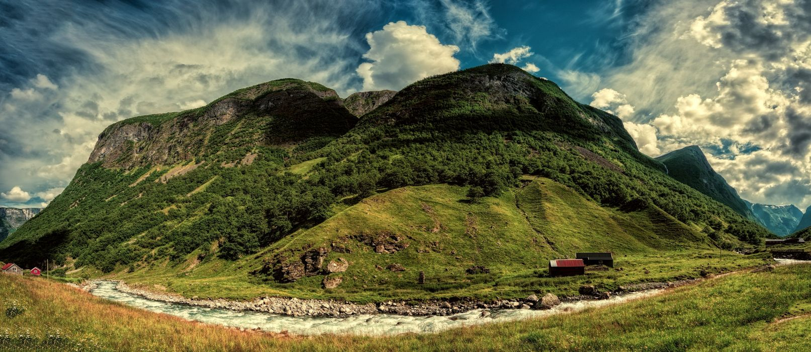 Norway Mountains Rivers Sky Aurland Sogn wallpaper