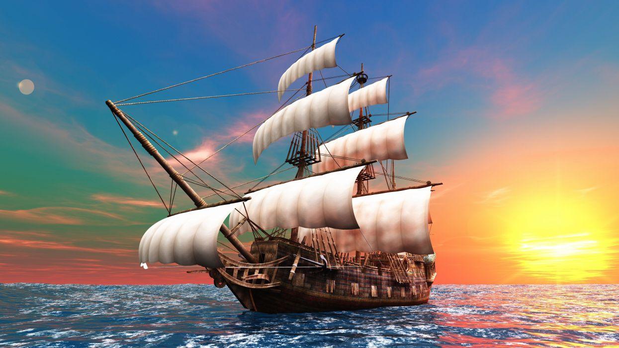 Ships Sea Sky Sunrises wallpaper