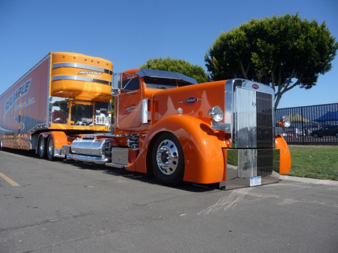 Peterbilt Trucks Orange Cars wallpaper