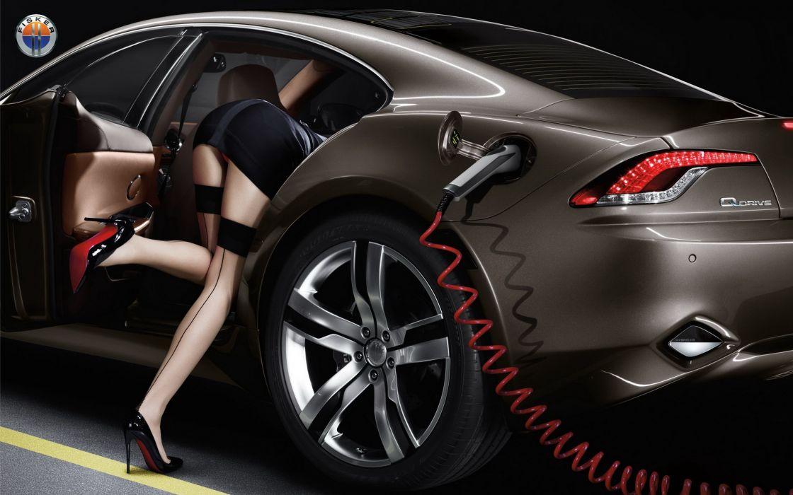Stockings Stilettos Girls Cars wallpaper