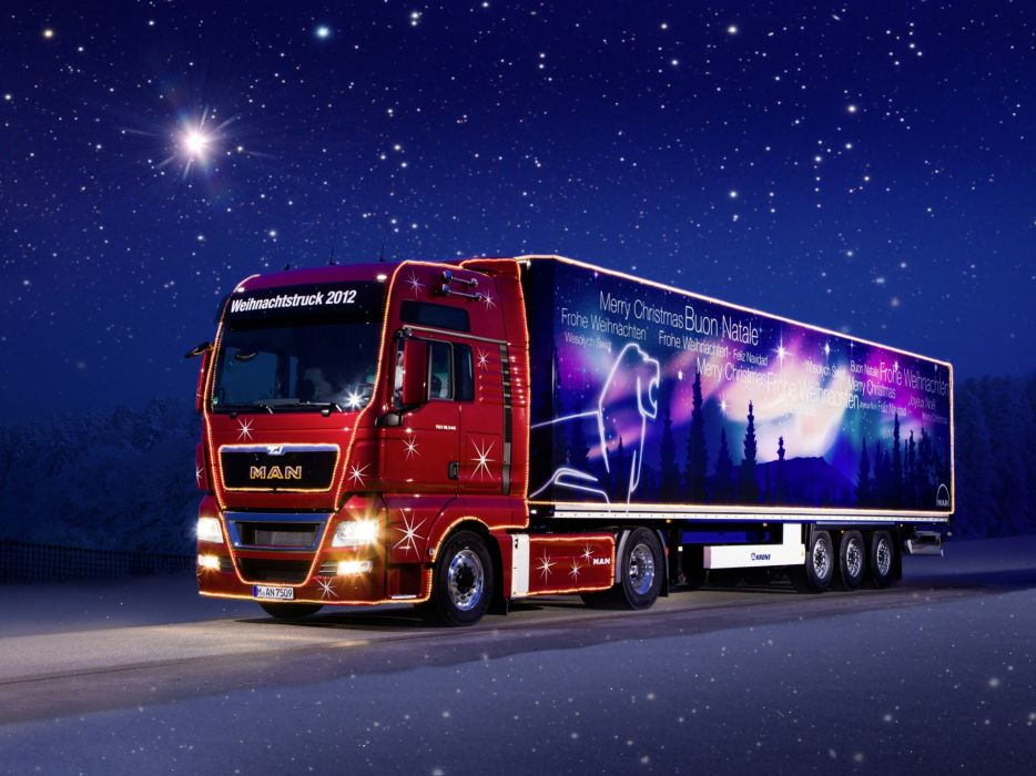 Trucks Sky Night Cars wallpaper
