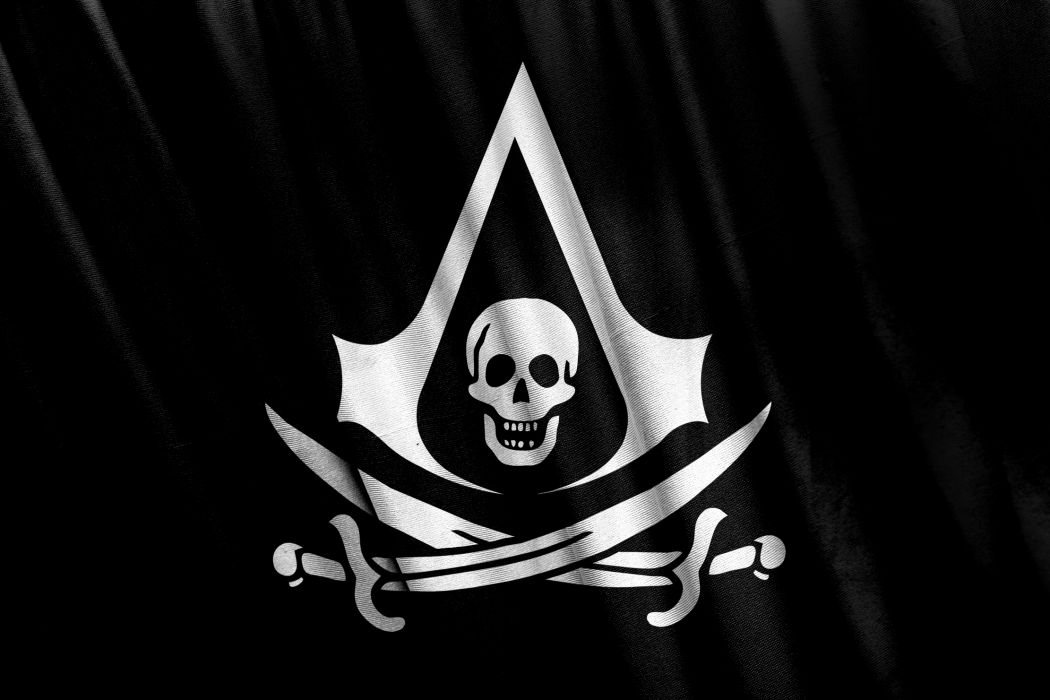 Assassin's Creed 4 Black Flag Pirates Skulls Logo Emblem Flag Sabre Games wallpaper