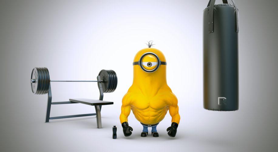 Despicable Me 2 Bodybuilding Barbell Cartoons wallpaper