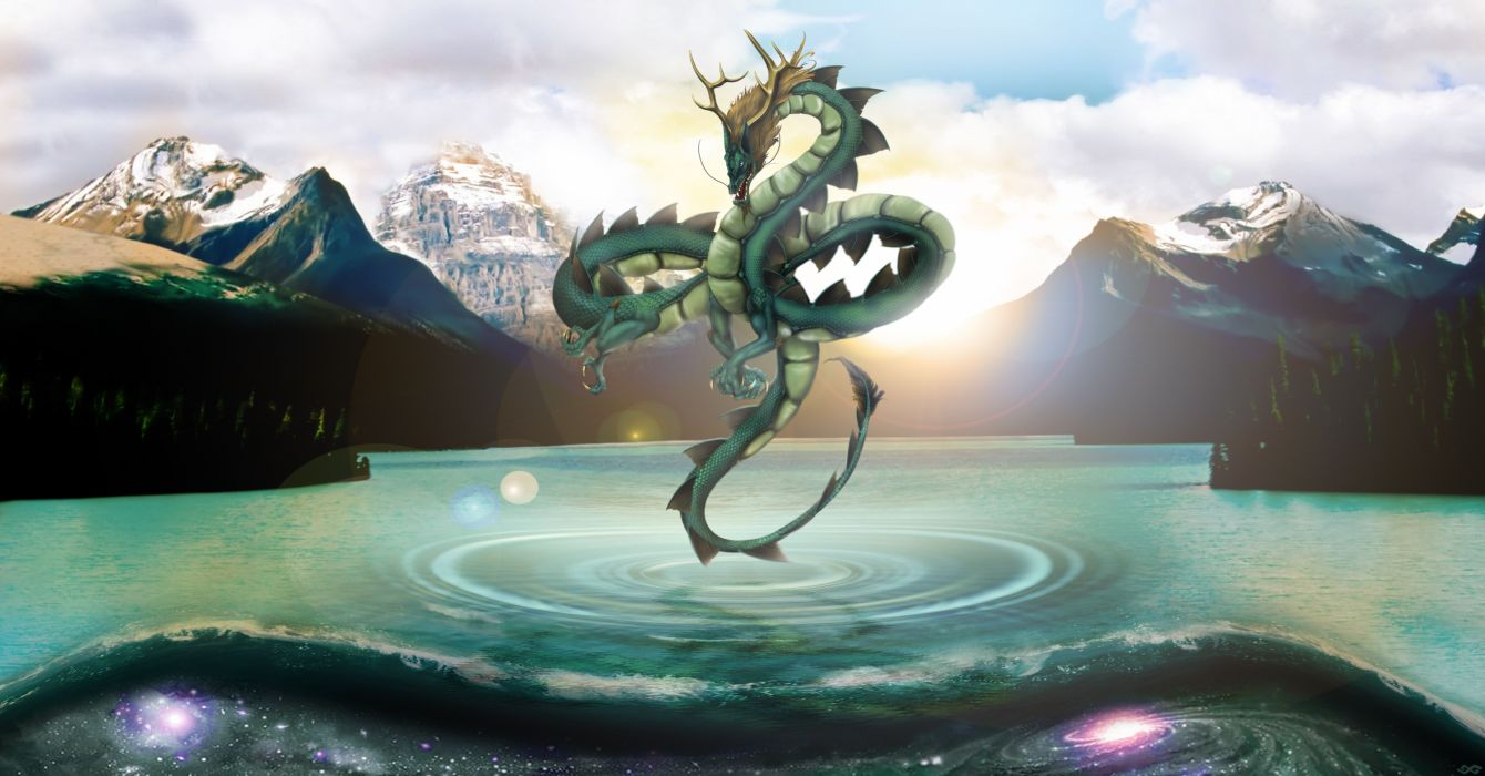 Dragons Mountains Fantasy 3D Graphics wallpaper