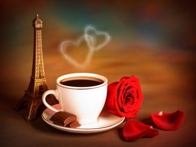 Drinks Coffee Roses Chocolate Cup Eiffel Tower Vapor Food Flowers wallpaper