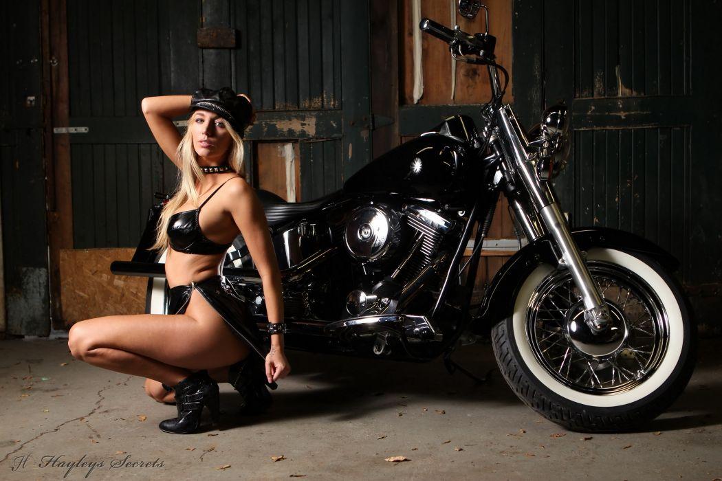 Hayley Marie Coppin Black Bra Girls Motorcycles wallpaper