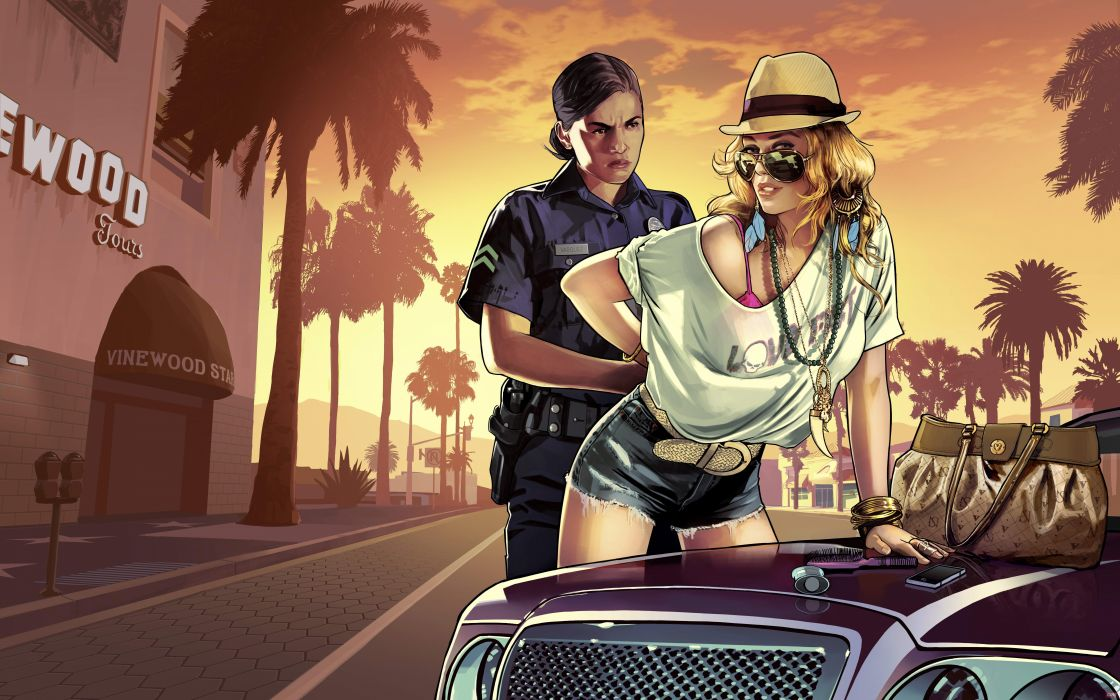Grand Theft Auto GTA 5 Hat Police Glasses Palma Games wallpaper