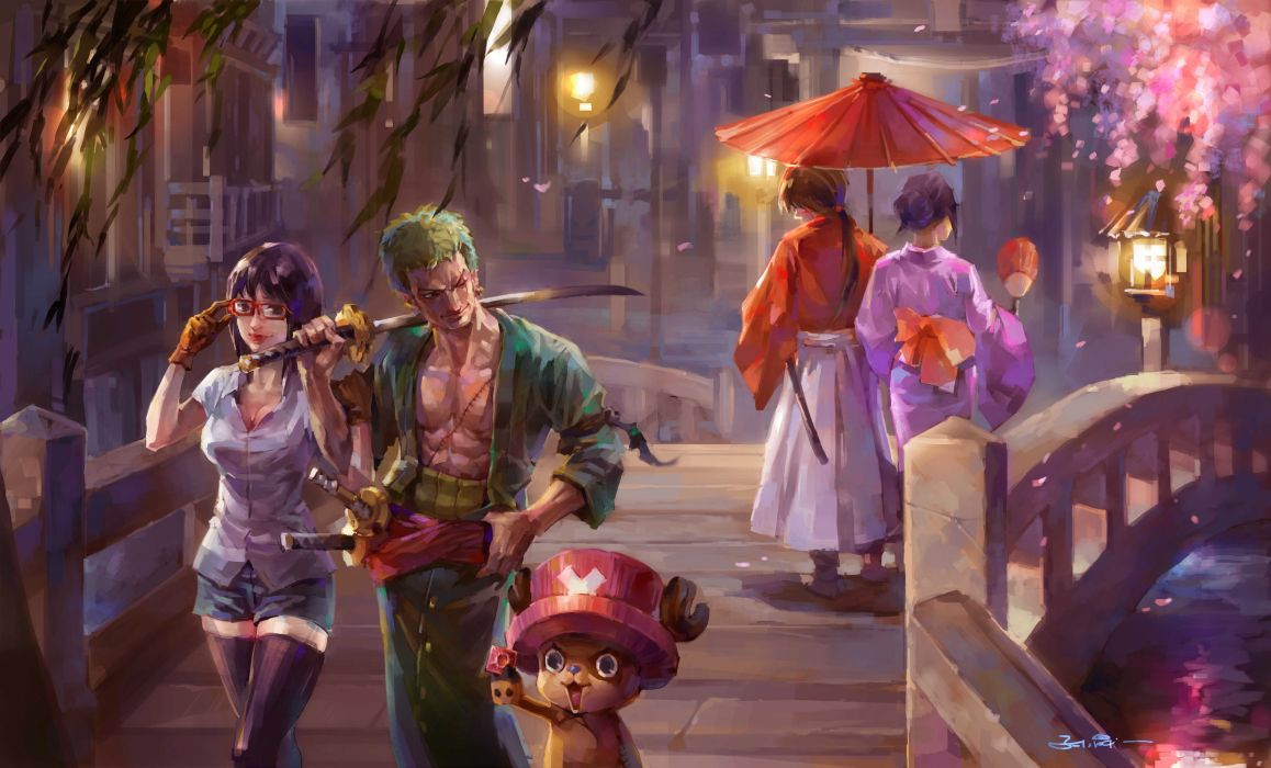 Men Warriors One Piece Bridges Sabre Umbrella Anime Girls wallpaper