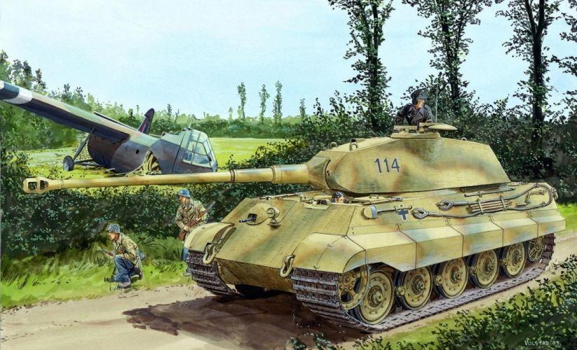 Painting Art Tanks PzKpfw VI Ausf B Tiger II Army wallpaper