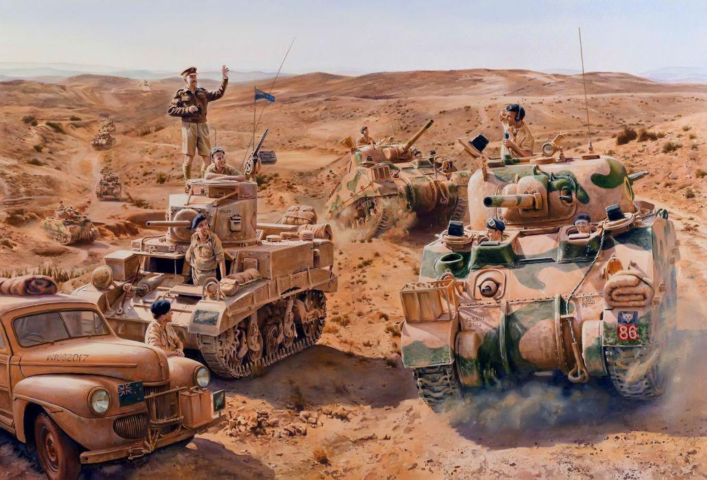 Painting Art Tanks Soldiers M4 Sherman Army wallpaper