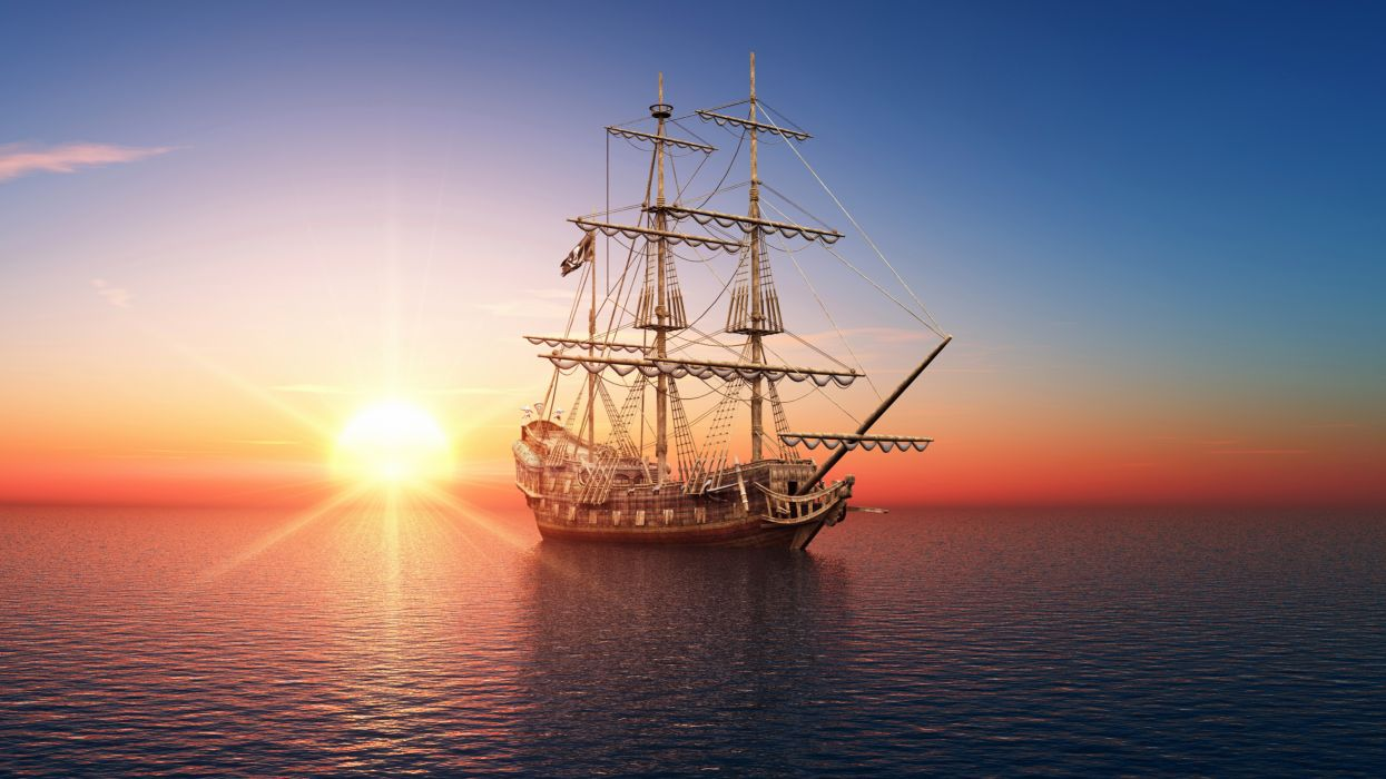 Ships Sailing Sea Sunrises wallpaper