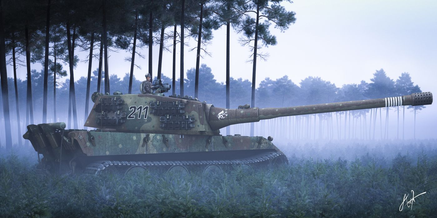 Tanks Forests Fog Army 3D Graphics wallpaper