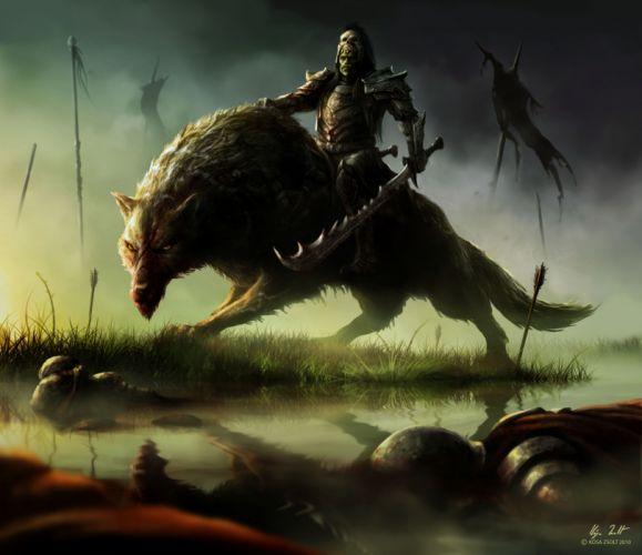 Warriors Swords Armor Fantasy wallpaper