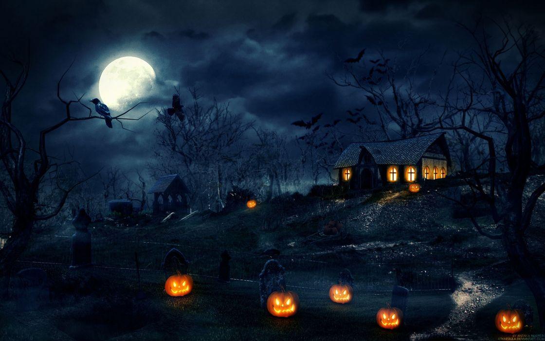 noce halloween casa encantada calabazas wallpaper