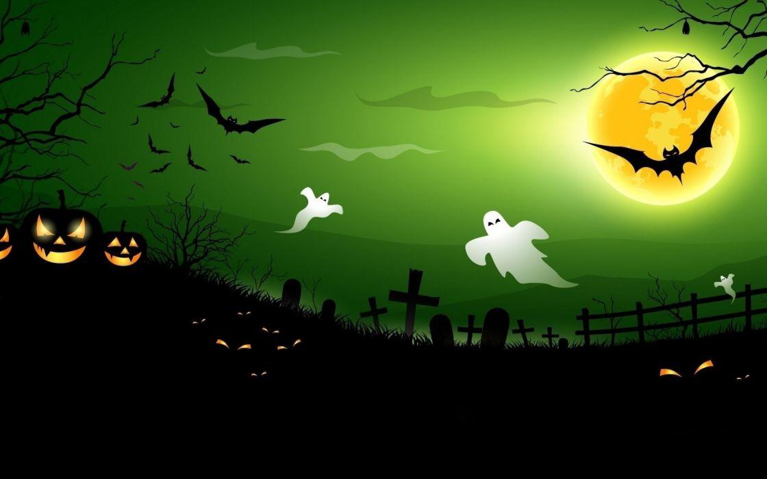 noche fantasmas cementrio hallowen wallpaper