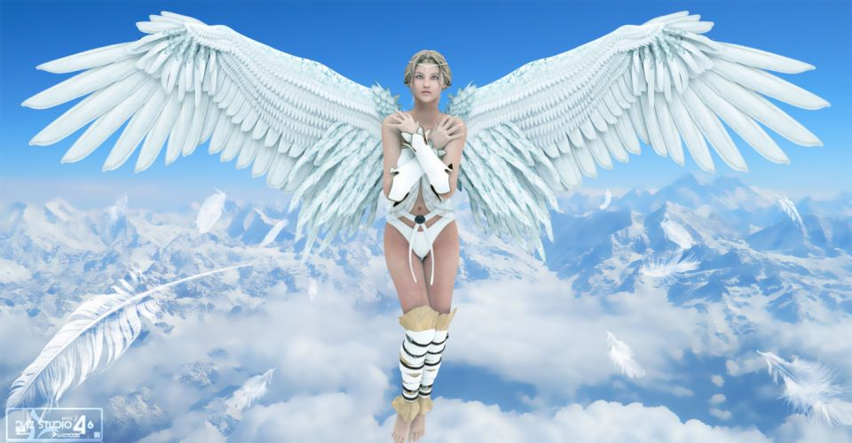 Angels Mountains Wings Fantasy 3D Graphics Girls wallpaper