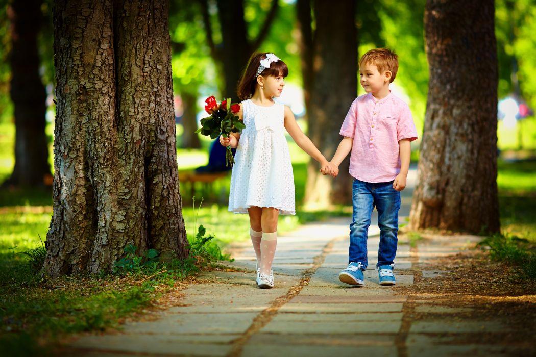 Bouquets Love Little girls Boys Two Trunk wallpaper