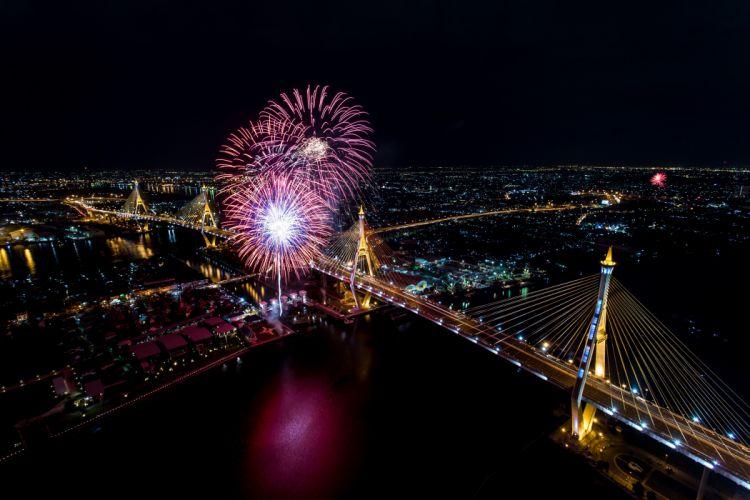 Bangkok Thailand Houses Rivers Fireworks Bridges Night From wallpaper