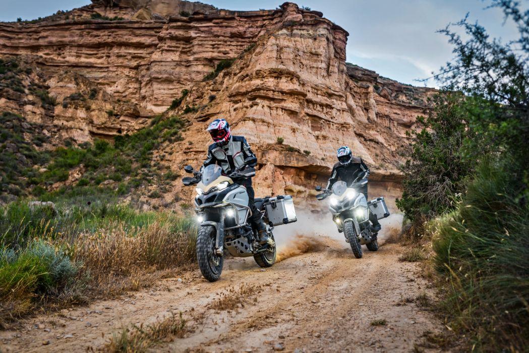 Ducati 2017 Multistrada 1200 Enduro Pro Motorcyclist Two Crag Helmet Motorcycles wallpaper