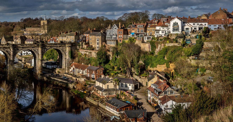 England Houses Rivers Bridges Knaresborough Cities wallpaper