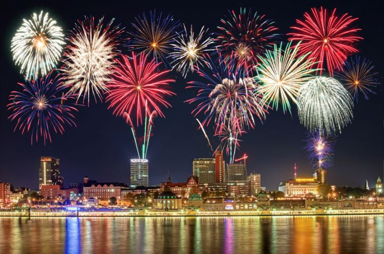 Fireworks Houses Holidays Night Cities wallpaper