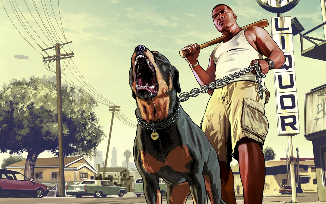 GTA 5 Men Dogs Franklin wallpaper