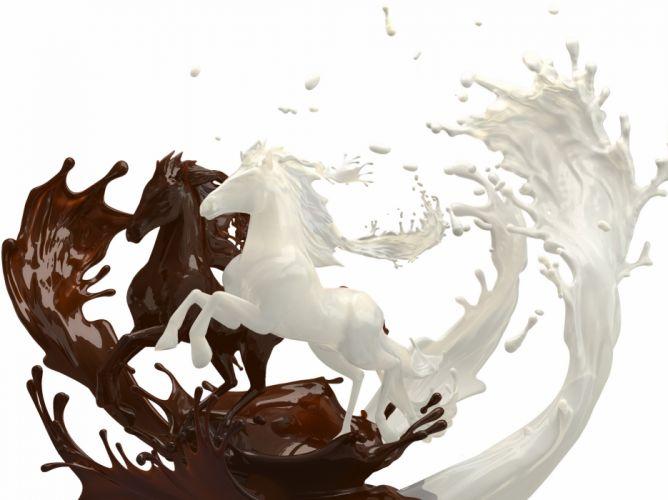 Horses Milk Chocolate Two 3D Graphics Animals wallpaper