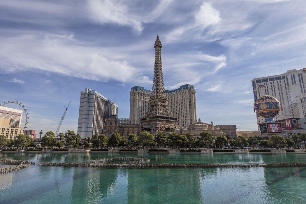 Houses Pond Sky Las Vegas Eiffel Tower Cities wallpaper