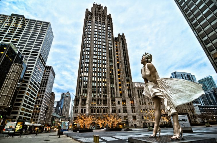 Houses Skyscrapers Marilyn Monroe Monuments Chicago wallpaper