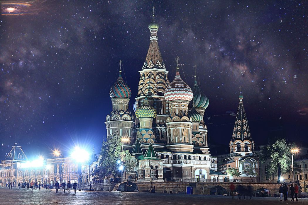 Moscow Russia Saint Basil's Cathedral Dome Night Cities wallpaper